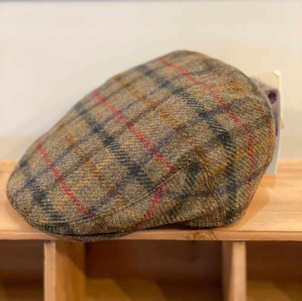 Yorkshire Tweed Flat Cap, Multi Check Moss, Large
