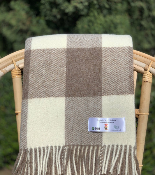 Natural Collection.  100% Wool,  Beige Checkaboard Throw.