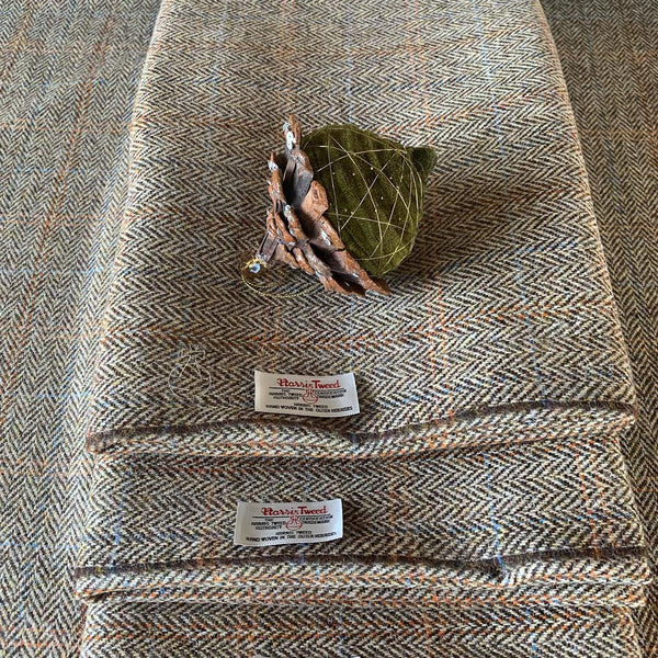 Genuine Harris Tweed L002H – Beige/brown herringbone with an orange and blue overcheck