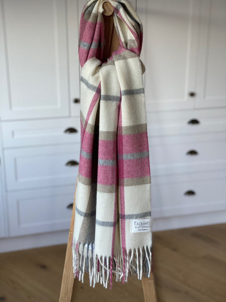 Winchester Pink Stole/Scarf.  100% Merino Wool.