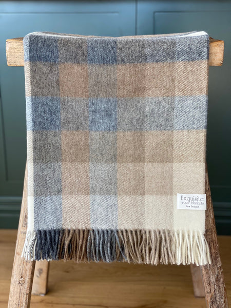 Harlequin, Natural 100% Merino Wool Throw.