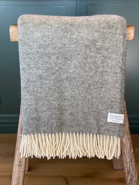 Natural Collection Herringbone Grey 100% Lambswool Throw.