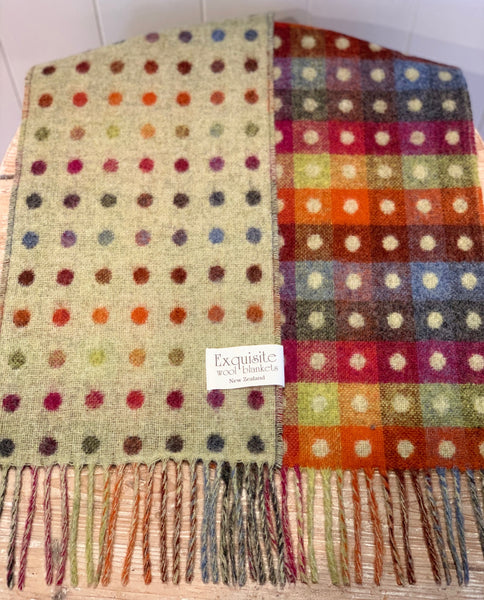 Exquisite reversible multi spot 100% merino wool scarf. Sage