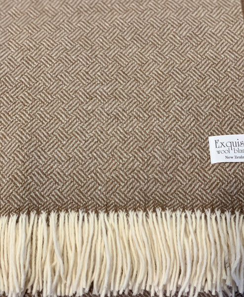 Exquisite Parquet Camel 100% Merino Throw.