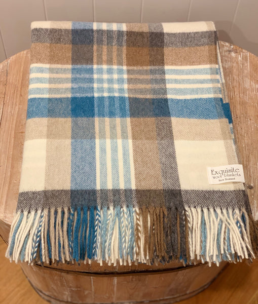 Melbourne Aqua Camel 100% Merino Wool Throw.