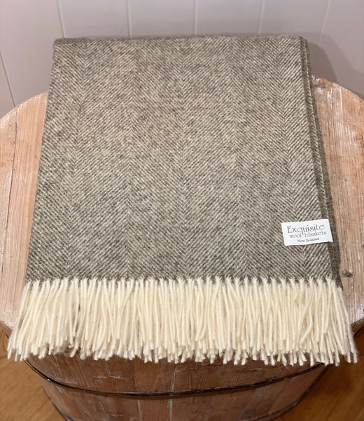 Herringbone Vintage Grey 100% Pure Wool Throw.