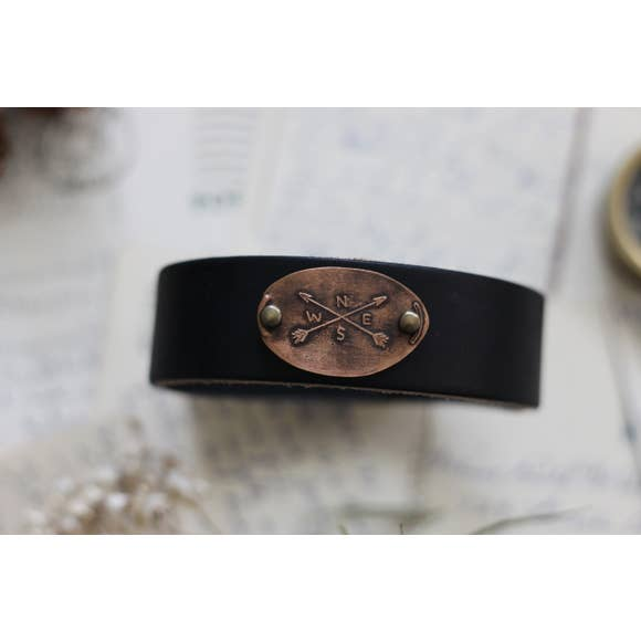 The Traveling Penny - Leather Cuff