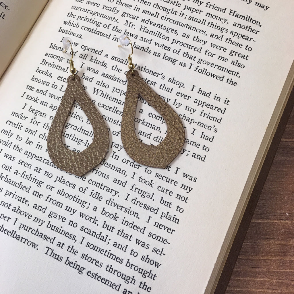 Duke & Jude Designs - Geometric Tear Drop Leather Earrings