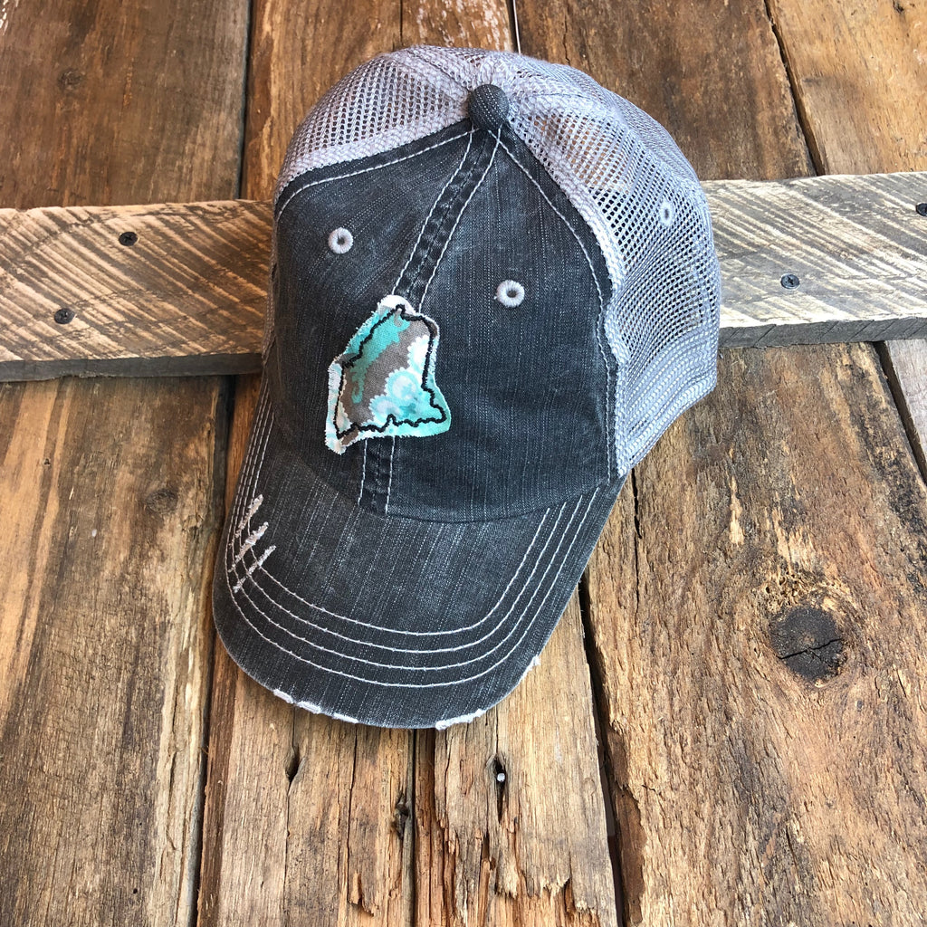 Gracie Designs - Dark Grey Maine Appliqué Trucker Hat