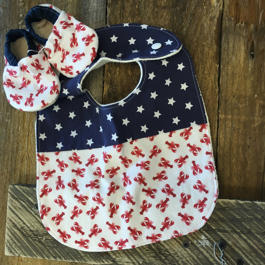 Two Little Beans & Co. Bibs and Booties - Tossed Lobster Red