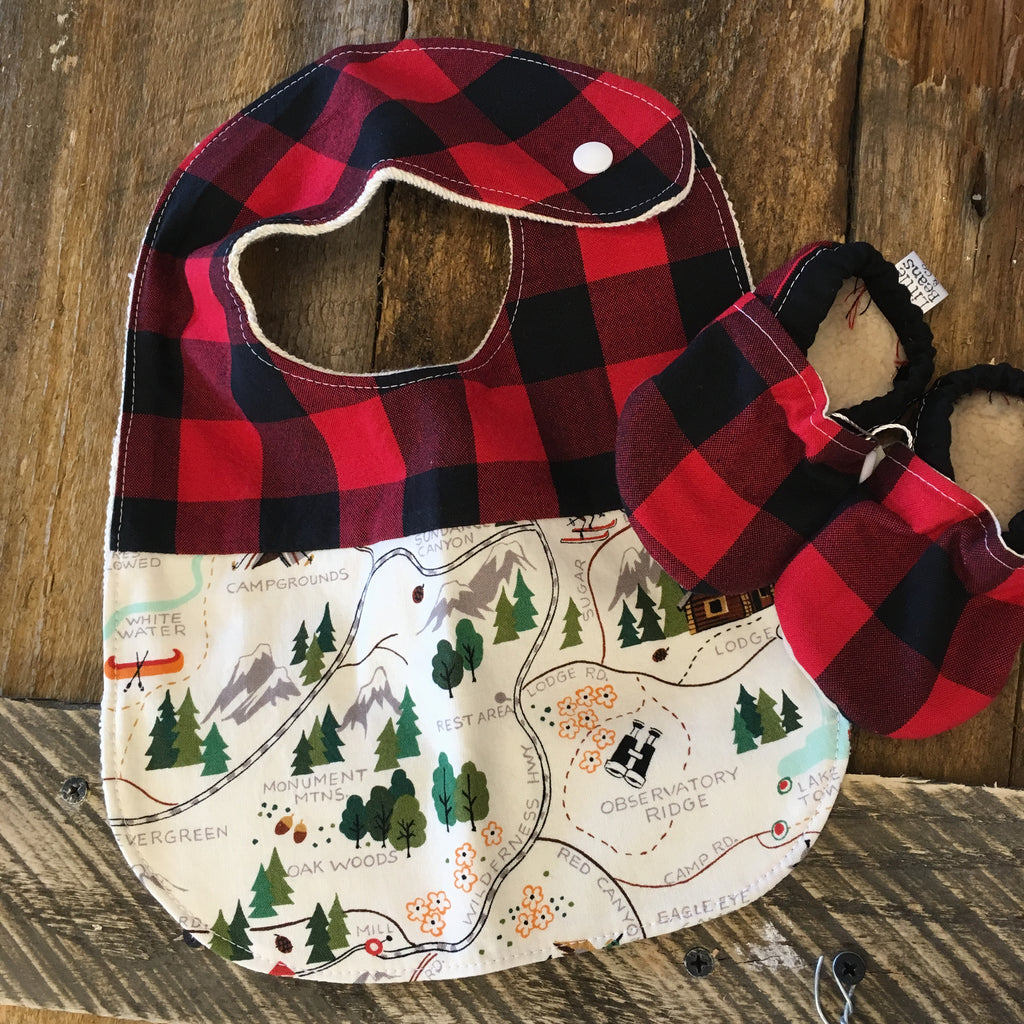 Two Little Beans & Co. Bibs and Booties - Buffalo Plaid