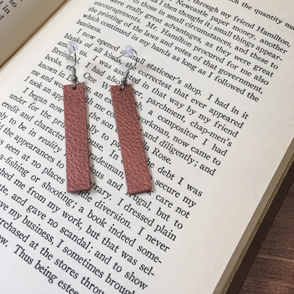Duke & Jude Designs - Bar Drop Leather Earrings