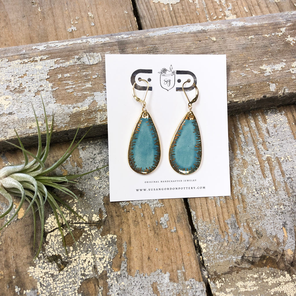 Susan Gordon Pottery- 22K Gold Mia Teardrop Earrings
