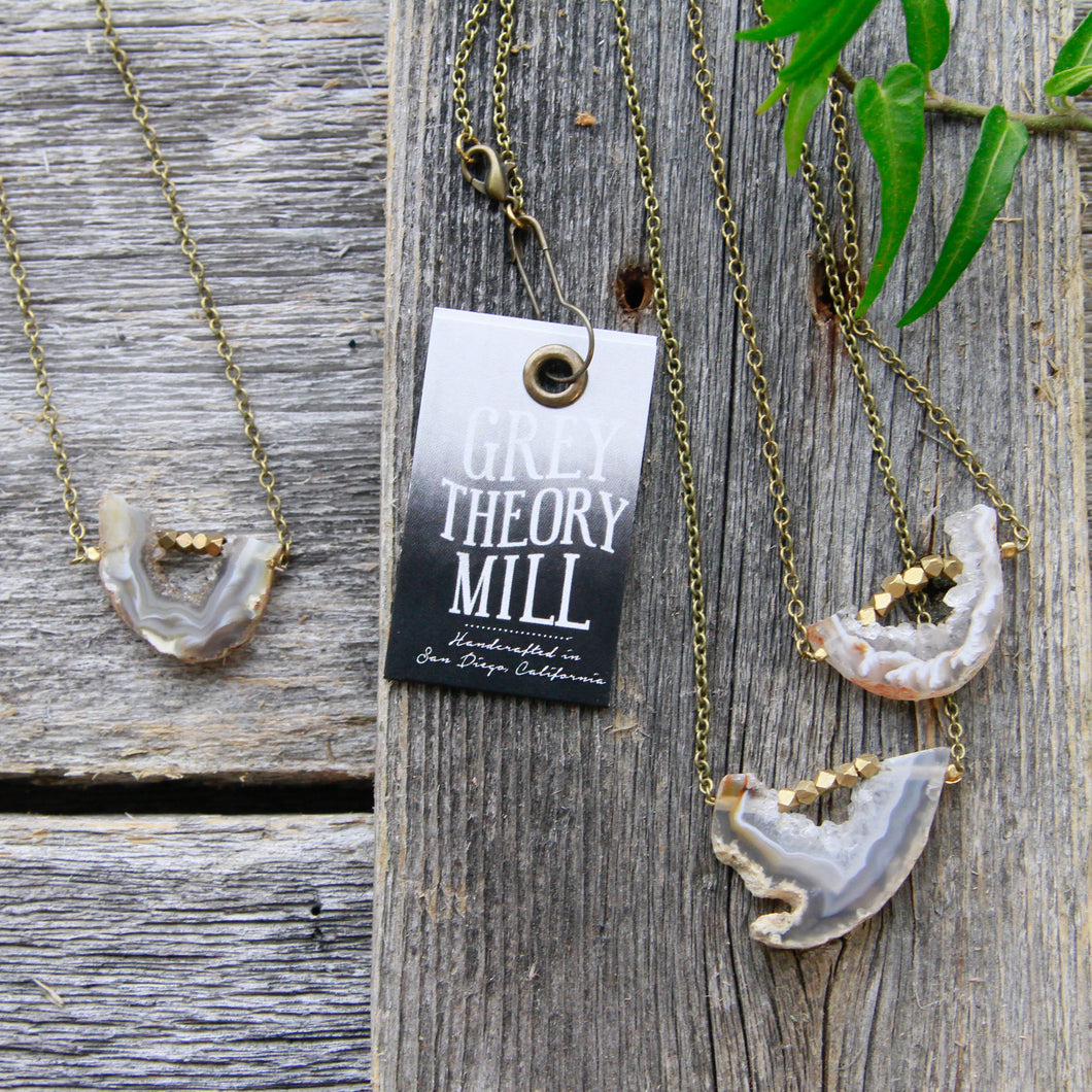 Grey Theory Mill - Agate Slice Necklace