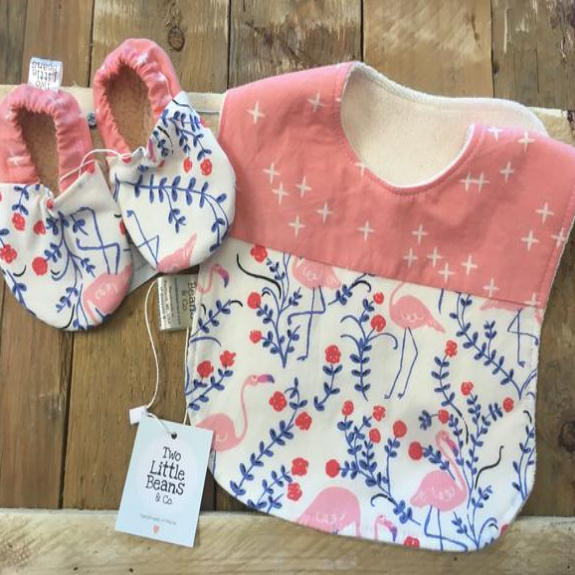 Two Little Beans & Co. Bibs and Booties- Pink Flamingos