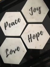 Luxe Inspirational Coasters 'peace' 'love' 'joy' 'hope'