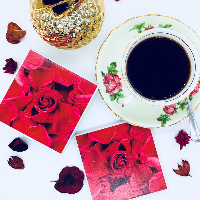 Photography by Jules Wood (Beauty is- Red Rose Coasters)- Set of 6