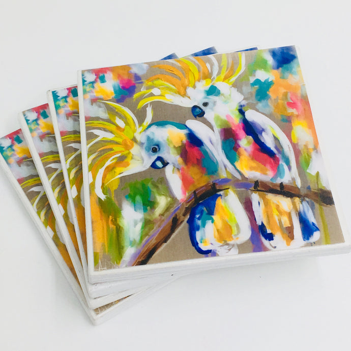 Art by Amanda Brooks (rainbow Cockatoo) - Set of 4