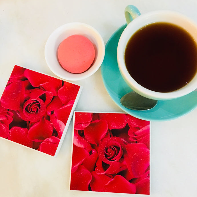 Photography by Jules Wood (Beauty is- Red Rose Coasters)- Set of 4