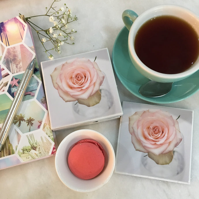 Photography by Jules Wood (Pink Rose Coasters)- Set of 6