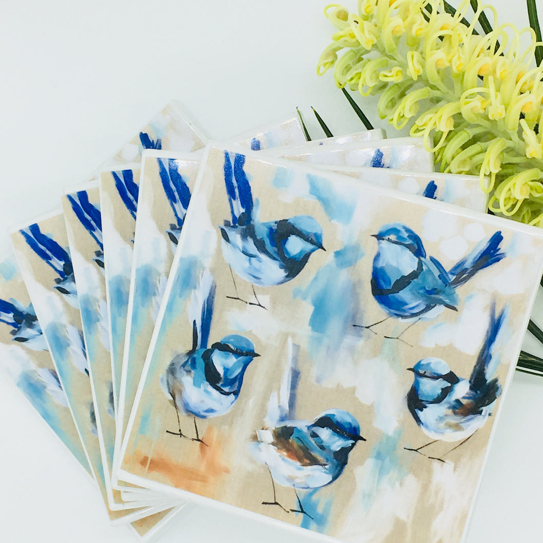 Art by Amanda Brooks (Blue wren family) - Set of 6