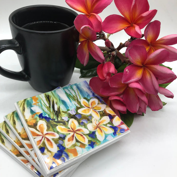 Art by Amanda Brooks (Frangipani Aqua) - Set of 4