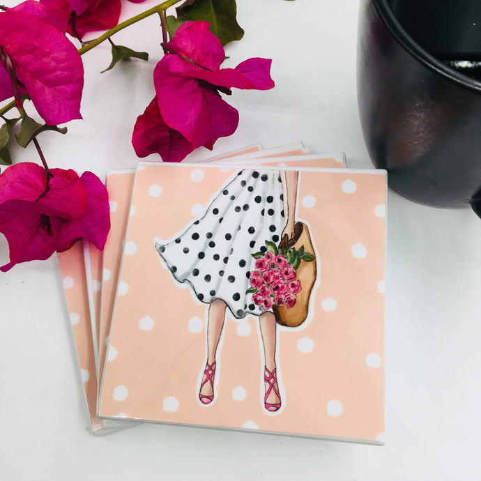 Art by Natasha Joseph Illustration (Peonies Polka Dot) - Set of 4