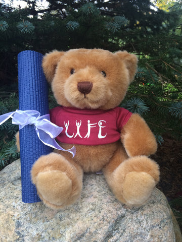 "Reiki/Yoga ""Life"" Plush Teddy Bear Stuff Animal w/ Yoga Mat & Essential Oils"