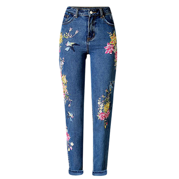 Embroidery High Waist Jeans