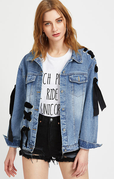 Eyelet Lace Up Denim Jacket