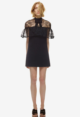 Lace Embroidery Sheer Mini  Dress