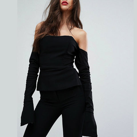 Off Shoulder Corset Top- Black