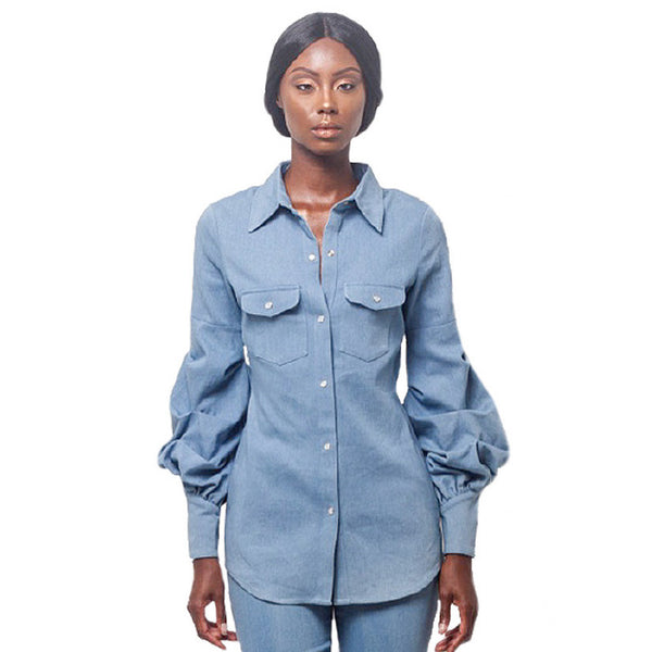 Denim Ruches Sleeve Top