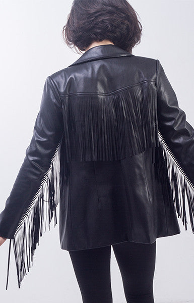Fringe Leather Blazer