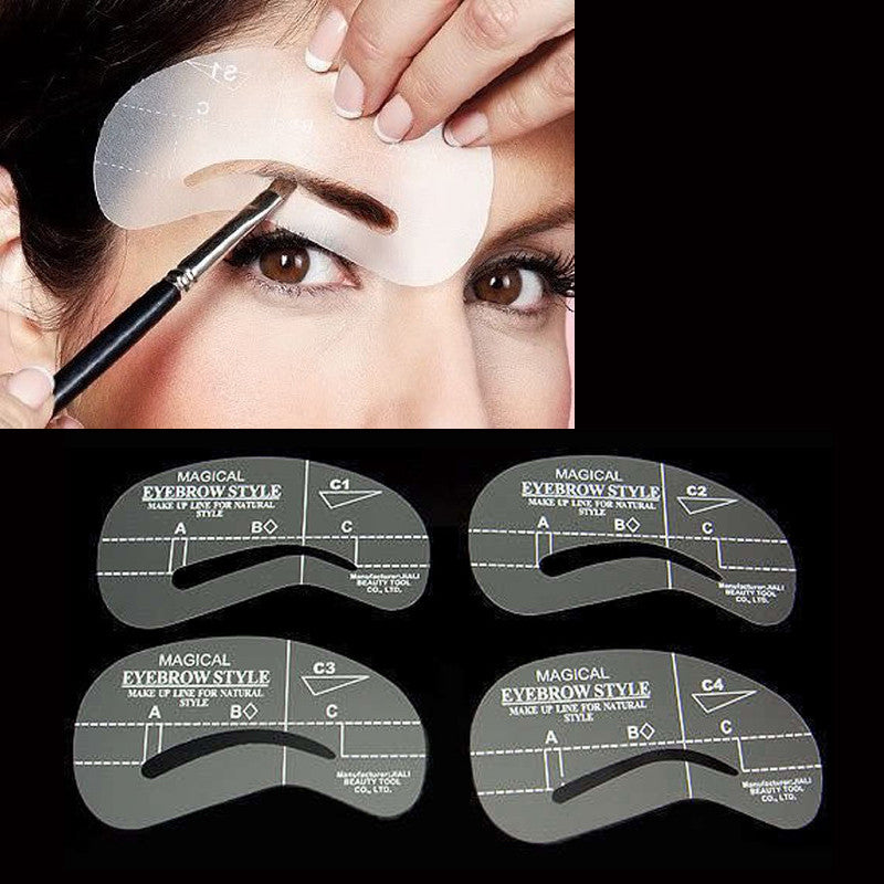 4 Styles Grooming Brow Painted Model Stencil Kit Shaping DIY Beauty Eyebrow Stencil Make Up Eyebrows Styling Tool