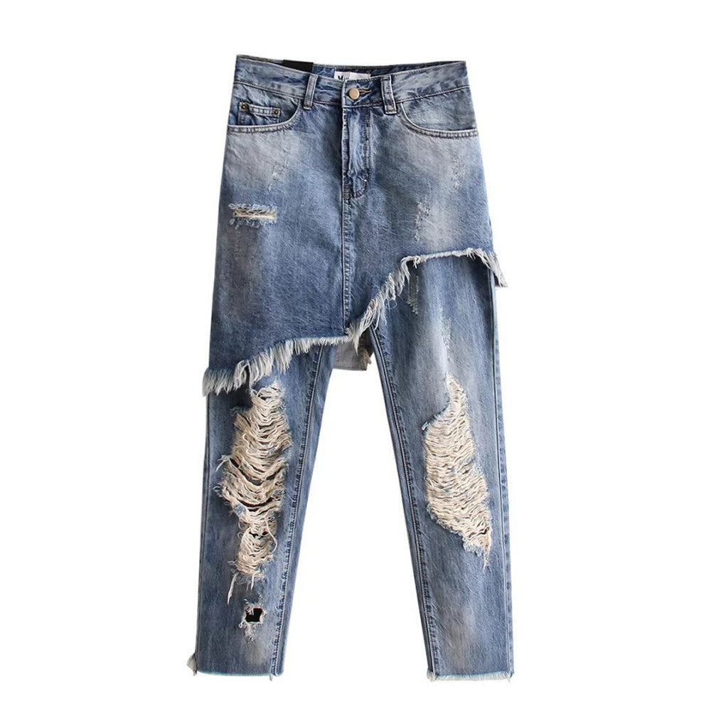 Stylish Irregular Demin Jeans Skirt Pants Ripped Bleached