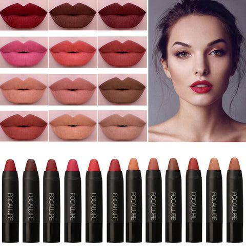 Brand Makeup Beauty Lips Pigment Matte Lip Stick Long Lasting Waterproof Make Up Moist Matte Lips Lipstick Nude Pencils
