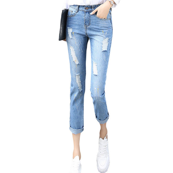 Ankle-length Mid-waist  Ripped Jeans