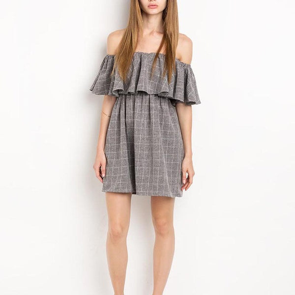 Brown Plaid Off-shoulder Ruffles Sleeveless Loose Mini Dress