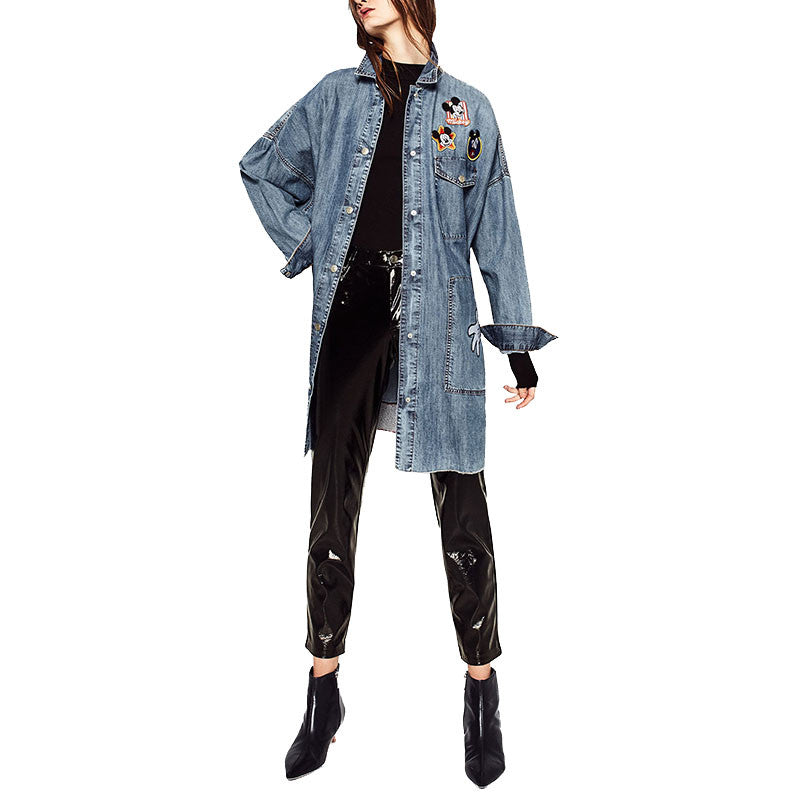 Oversized Denim Trench Coat