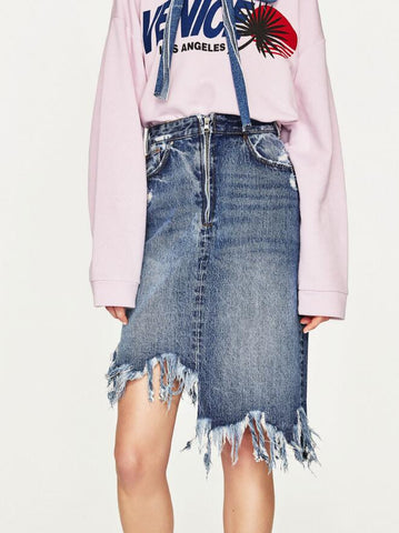 Frayed Asymmetric Hem Mid Rise Denim Skirt