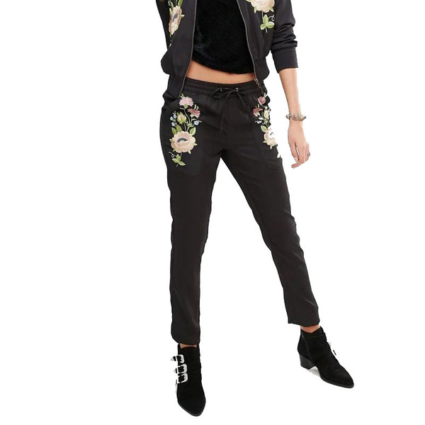 Black Floral Embroidery Pants