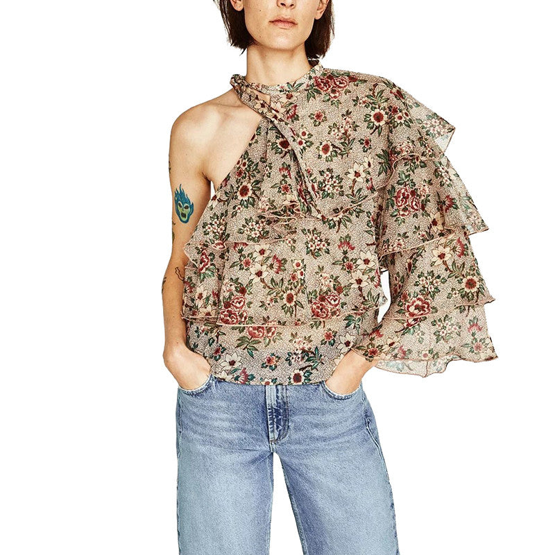 Ruffles One Shoulder Blouse