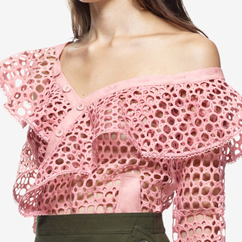 Asymmetric Ruffle One Shoulder  Lace Top