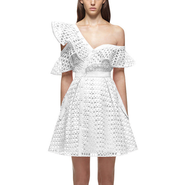 Off Shoulder Ruffles Short lace dress