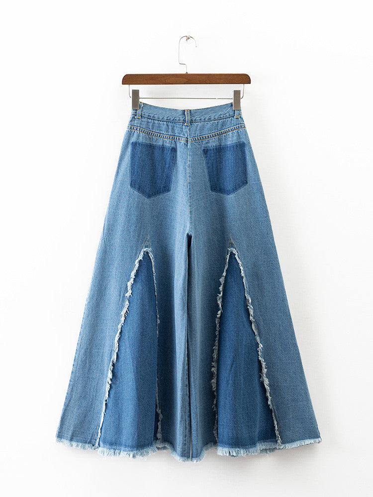 High Waist Wide Leg Jeans with  Raw Edges