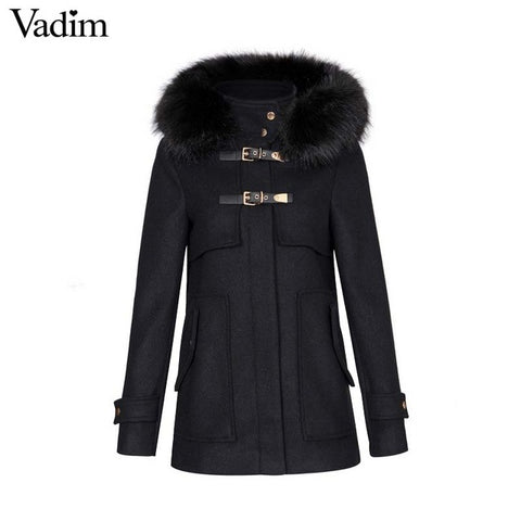 wool buckle coat w/ fur hood