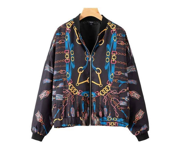 Chain print loose bomber jacket