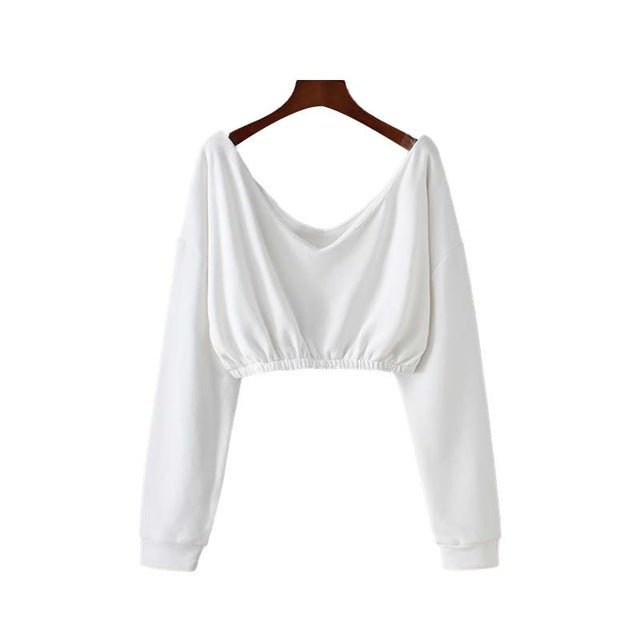 V neck solid sweatshirts backless long sleeve pleated
