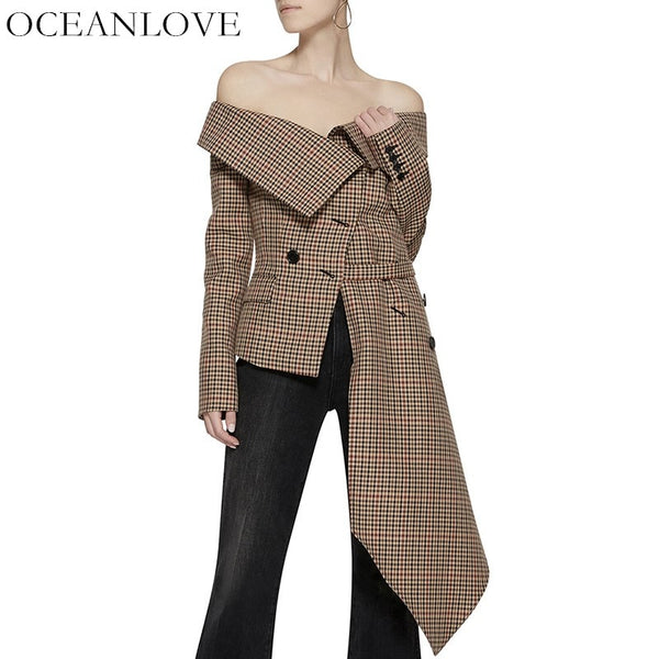 OCEANLOVE Plaid Irregular Off Shoulder Women Blazer Single Breasted Fake Pockets Lady Coat Autumn New Asymmetrical Jacket 10043